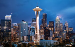 Evening picture of Space Needle in Seattle