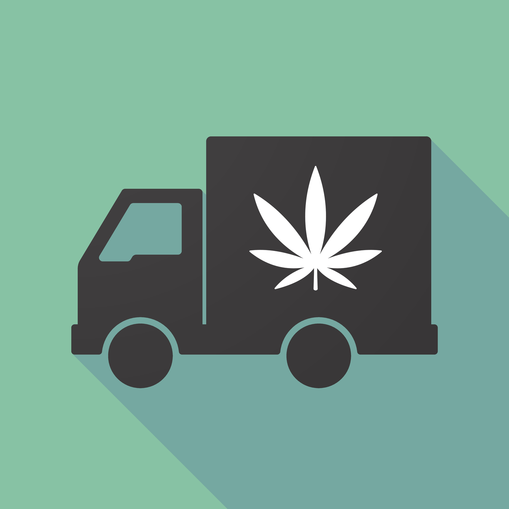 Silhouette of black truck with white marijuana leaf on it